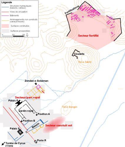 Fig. 2 : Proposition de restitution du plan de Pasargades à l'issue des prospections 1999-2009 (repris et adapté de Benech, Boucharlat, Gondet 2012 : 29-Fig. 15). © Mission irano-française « Shiraz »