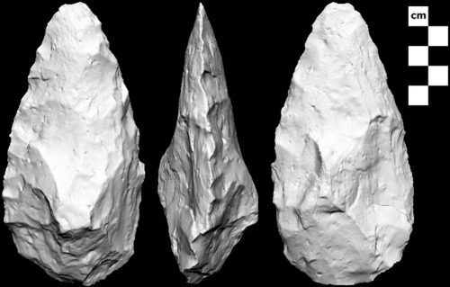 Figure 1. A handaxe from the Qana Oasis on the southern margin of the Nefud Desert in northern Saudi Arabia (From Shipton et al. 2014).