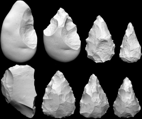 Figure 6. Experimentally knapped handaxes scanned at various stages of reduction to show the positive correlation between mass lost and flake scar density (From Shipton and Clarkson 2015).