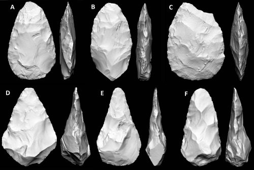 Figure 8. Some distinctive handaxe shapes of the British Acheulean. A = cordiform, B = limande, C = ovate, D = triangular, E = ficron, F = plano convex. (From Shipton and Clarkson 2015b).