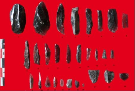 Fig. 16 : Industrie lithique paléolithique supérieur. 1 : nucléus ; 2-3 : éclat et lamelle d'entretien ; 4-8 : lamelles brutes ; 9-18 : lamelles à bord abattu microlithiques ; 19-24 : esquilles ; 25, 28 : microburins. © Mission Caucase.