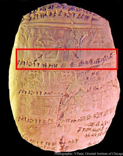 Fig. 1 : Exemple d'une tablette de Nuzi avec ses empreintes de sceau et ses suscriptions, © V. Pataï.