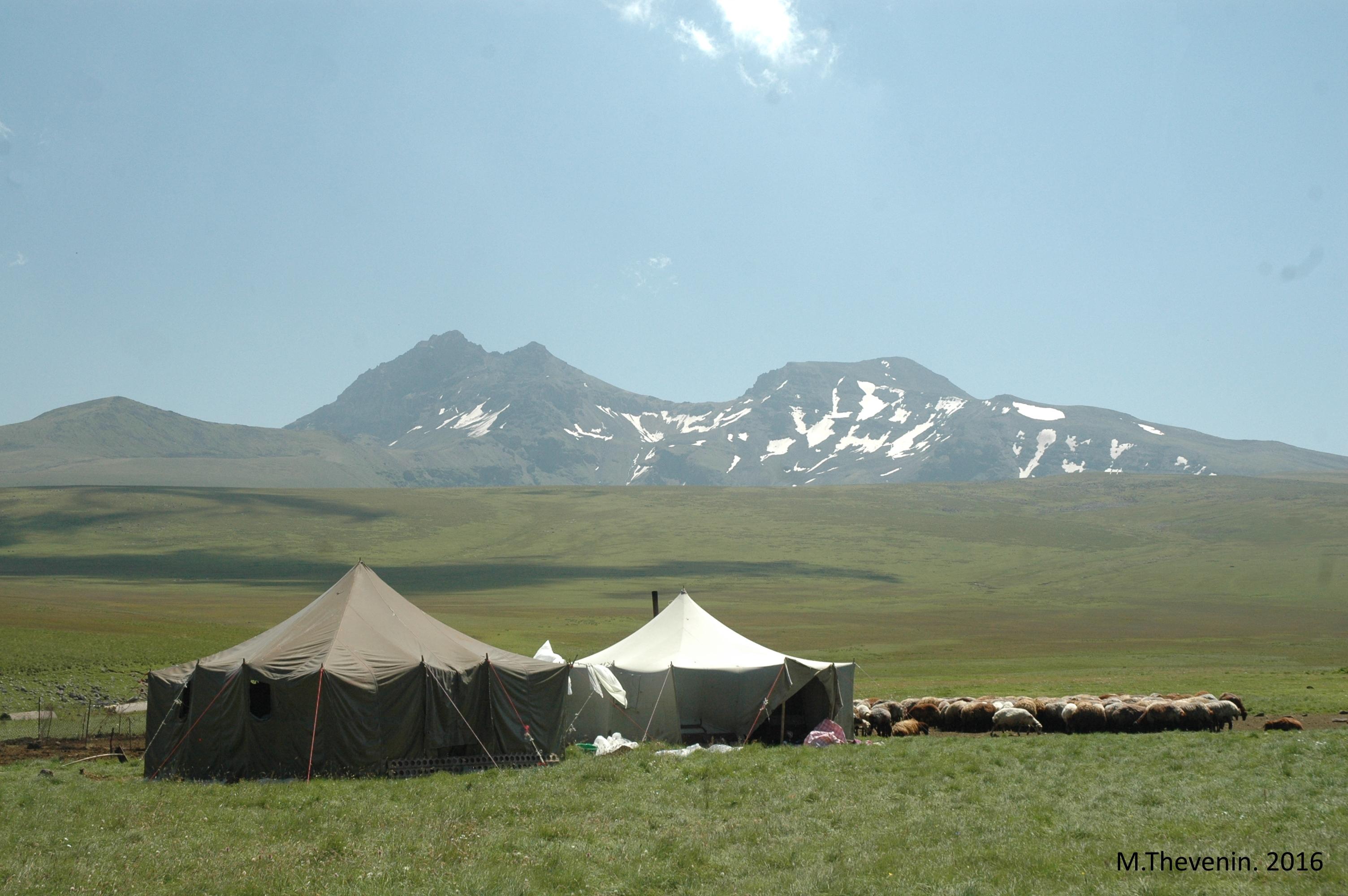 Camps d'éleveurs yézidis sur le mont Aragats. Photo M.Thevenin