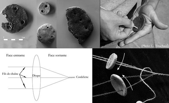 Figure 1 : Disques à cordeler de Sovjan, et leurs reproductions expérimentales mis en situation.