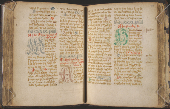 Davíþspsálmar. Manuscript, 17th century. Fiske Icelandic Collection. Icelandic translation of the Psalms by séra Jón Þorsteinsson (1570?-1627), bound with his Genesis sálmar. The Psalms of David are in one seventeenth-century Icelandic hand.