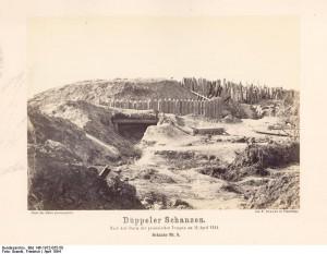 Düppeler Schanzen. Nach dem Sturm der preussischen Truppen am 18. April 1864. Schanze Nr. 5