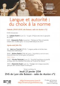 23 janvier 2014, Langue et autorité : du choix à la norme