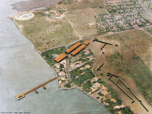 Port-la-Nautique : évocation du site avec les entrepôts, le quai et le vivier. © P. Cervellin, CNRS