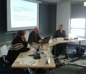 Rencontre du 01 février 2012 : « Der Verbannte, der Verbrannte [Le banni, le brûlé] – lecture de Paul Celan ». Alexis Nuselovici (Nouss), Claire Le Foll, Eloi Recoing.