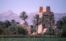 Maison tour bâtie par assises de terre projetée, dans la palmeraie de Najrân, Arabie Saoudite, 1978