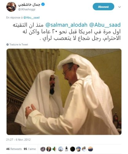 « Depuis notre première rencontre aux États-Unis il y'a environ vingt ans, j'ai beaucoup de respect pour [Salman Al-Awda], c'est un homme courageux et tolérant. » Tweet de Jamal Khashoggi publié le 6 février 2012 au sujet de sa récente entrevue avec l'ancien leader de la Sahwa islamique. Capture d'écran par l'auteur. Source : https://twitter.com/JKhashoggi/status/166754814875803648, consulté le 2 mars 2019.