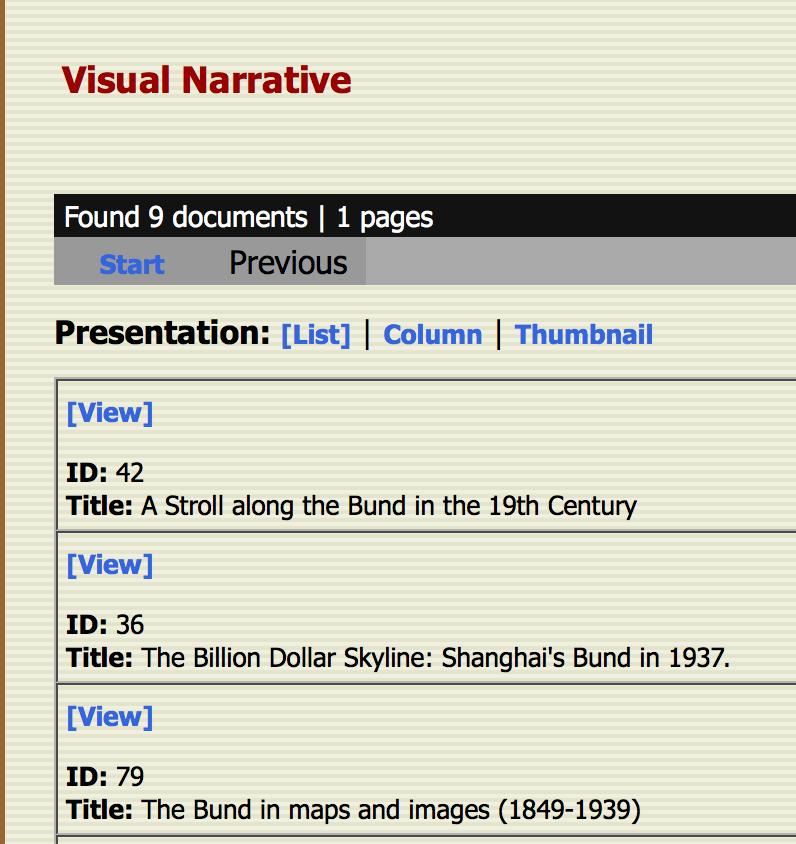 List of Visual narratives in Virtual Shanghai 1.0 (iSlide)