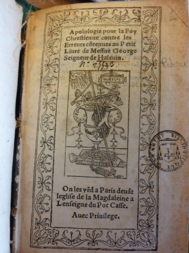 "Titelblatt der ""Apologie"" (1532)"