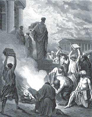 Bücherverbrennung unter dem Apostel Paulus in Ephesos (G. Doré, ca. 1866). Allein die Möglichkeit von Pluralität würde jeden Glauben in Frage stellen. (Quelle: Wikimedia commons)