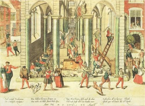 Ikonoklasmus in Antwerpen nach Frans Hogenberg (1568). Kunsthalle Hamburg. Quelle: wikimedia commons.