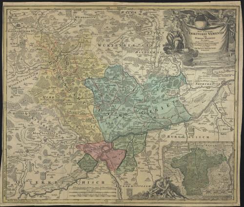 Die Gebiete der Reichsstadt Ulm (koloriert) zu Beginn des 18. Jahrhunderts (Quelle: LEO-BW).