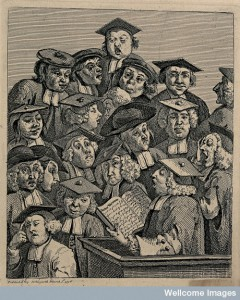 V0049241 Scholars at a lecture. Engraving by W. Hogarth. Credit: Wellcome Library, London. Wellcome Images images@wellcome.ac.uk http://wellcomeimages.org Scholars at a lecture. Engraving by W. Hogarth. 1736 By: William HogarthPublished: March 3rd 1736 Copyrighted work available under Creative Commons Attribution only licence CC BY 4.0 http://creativecommons.org/licenses/by/4.0/