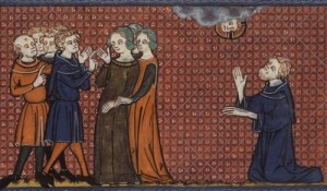 Saint Pelagia surrounded by her admirers; Nonnus prays. 14th century French Manuscript Paris, Bibliothèque Nationale de France, MS Français 185, Fol. 264v