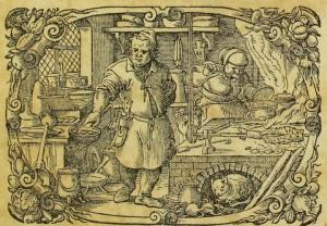 Engraving from title page of 1604 edition of Marx Rumpolt cookbook. Sächsische Landesbibliothek – Staats- und Universitätsbibliothek Dresden, http://digital.slub-dresden.de/id313700877