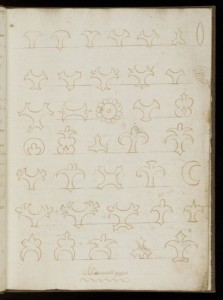 <Wellcome Library MS 1176, attributed to Hannah Bisaker, c. 1692, designs for minced pies. Credit: Wellcome Library, London.