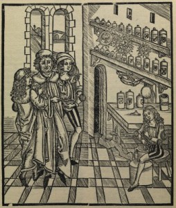 Some things are best left to professionals: mixing medicines at the apothecary's shop (from Brunschwig's 'Buch der CIrurgia')