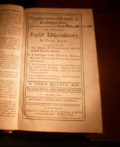 Quincy, John. Pharmacopoeia Officinalis & Extemporanea: Or, a Complete English Dispensatory, in Four Parts. 8th ed.  London: J. Osborn and T. Longman, 1730 (title page).