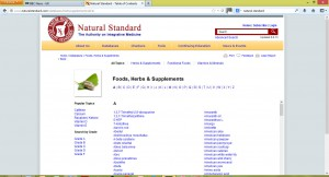 Figure 3. Natural Standard on 'Foods, Herbs and Supplements'