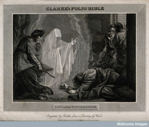 The witch of Endor conjures up the ghost of Samuel at the request of Saul, who lies petrified on the ground. Engraving by W. Raddon, 1811, after B. West. Credit: Wellcome Library, London.