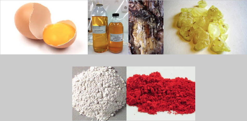 Fig. 2. Shared materials panel painter and face painter, left to right: Egg, linseed oil, resin tears, dried resin (mastic) and below: two pigments: white lead and vermillion.