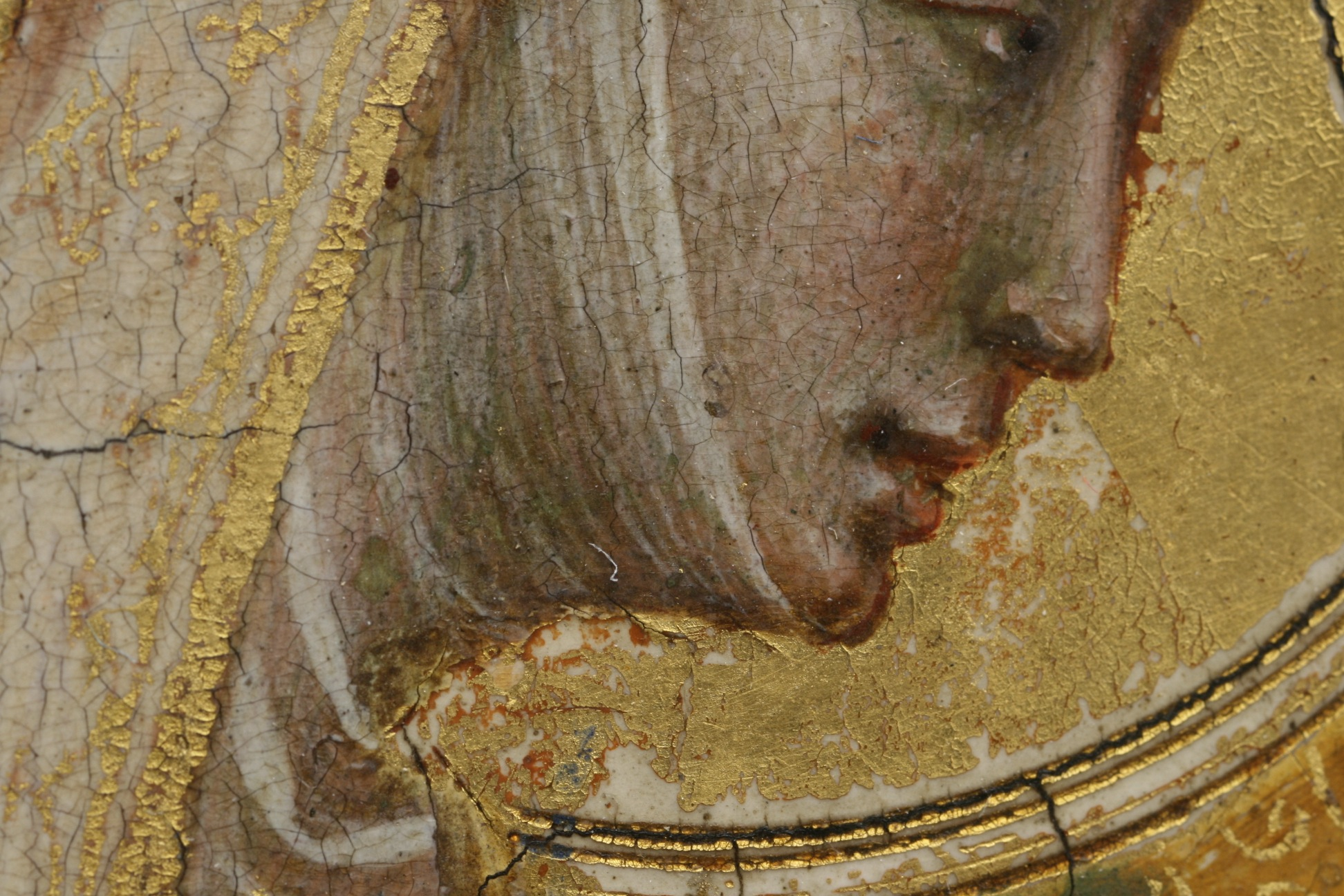 Fig. 3. Bernardo Daddi, detail Virgin Mary's face, 14th century. Egg-based paint on panel Gemäldegalerie, Berlin (inv. nr. 1064)