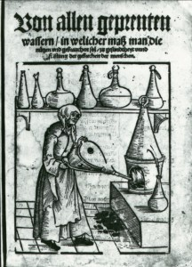 Woman with bellows. Michael Schrick, Von allen geprenten Wassern (Nürenberg: Jobst Gutknecht, 1530, title page). Image credit: National Library of Medicine.