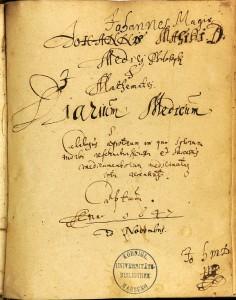 Titel of Magirus' Medical Diary (University of Marburg Library, Ms. 96)