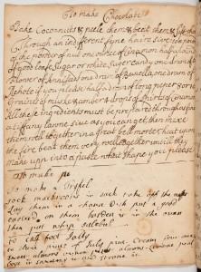 MS251 - receipt book_Mary Goodson, 1687, chocolate recipe