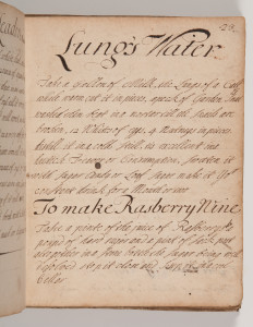 MS509 - p.23, medical prescriptions and cookery recipes, c18th century, lung's water, raspberry wine