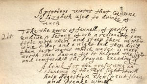 17th century manuscript recipe mentioning Queen Elizabeth I