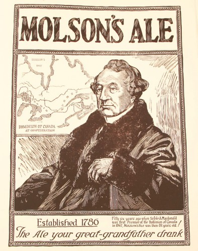 English-Language Advertisement for Molson Brewery (1924).  Image courtesy of Wikipedia.
