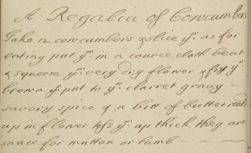 Regalia Cucumbers Manuscript