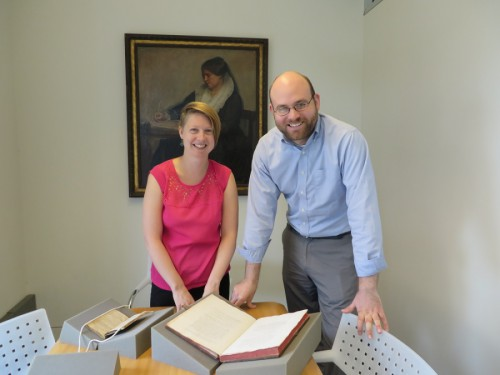 Katie Rawson and Mitch Fraas with rare books