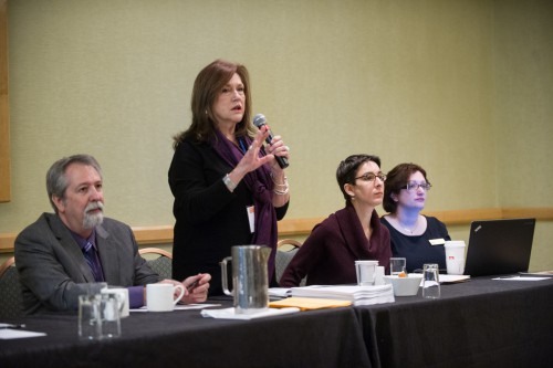 AHA2015 K-12 Workshop #13 Wendy Eagan explains how educators can use this history of food to examine broad thematic concepts of World War I while fellow panelists Tim Bailey, Amanda Moniz, and Lynne O'Hara observe. Credit: Marc Monaghan