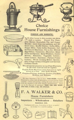 This advertisement for household items from The Boston Cooking School Cookbook hints at the remarkable variety of mass produced goods available in the late nineteenth century.