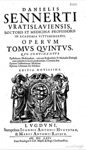 Title page of 'Tomus Quintus' of Sennert's 1666 Opera Omnia