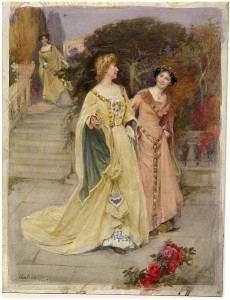 Beatrice overhears Hero and Ursula by John Sutcliffe, via Wikimedia Commons