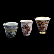 Mid-eighteenth century chocolate cups, one of which can be traced to Sloane's collections. Image credit: British Museum.