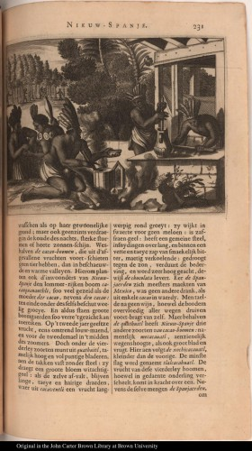 Figure 2. A depiction of each stage of indigenous cacao beverage making. From Montanus, Arnoldus, 1671, De Nieuwe en onbekende Weereld: of Beschryving van America, Amsterdam, Jacob Meurs Boek-verkooper en Plaet-snyder, op de Kaisars-graf, schuin over de wester-markt, in de stad Meurs. Courtesy of the John Carter Brown Library, Brown University.
