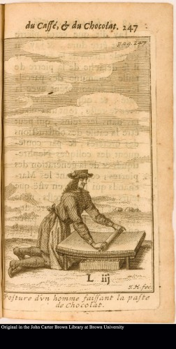 Figure 4. European man grinds cacao in the same manner as a Native American. From Chez Thomas Amaulry, 1687, Le bon usage du thé, du caffé, et du chocolat pour la preservation & pour la guerison des maladies, Lyon, ruë Merciere, au Mercure Galant. Courtesy of the John Carter Brown Library, Brown University.