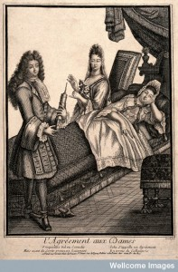 A fashionable lady being given an enema by a charming young man. Credit: Wellcome Library, London.