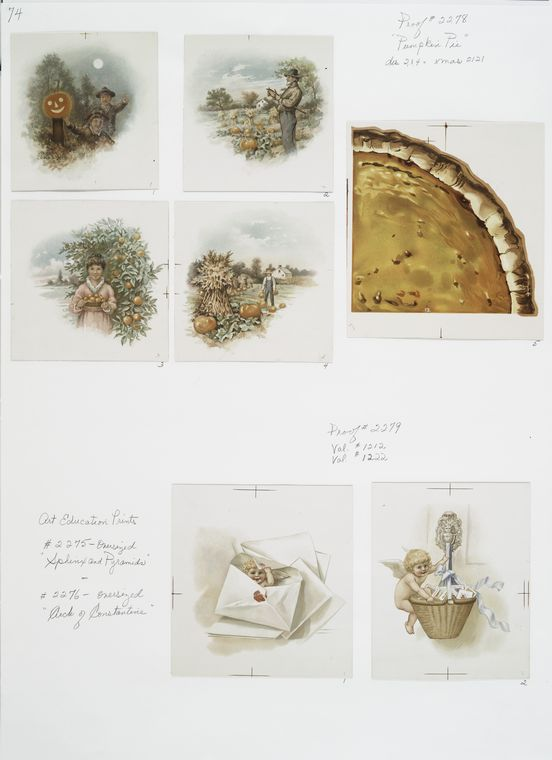 "The Miriam and Ira D. Wallach Division of Art, Prints and Photographs: Print Collection, The New York Public Library. ""[Valentines and Christmas cards depicting pumpkin pies, a pumpkin patch, a jack-o'-lantern, farmers, an orchard, cupids and letters.]"" New York Public Library Digital Collections. Accessed September 1, 2015. http://digitalcollections.nypl.org/items/510d47db-c5c1-a3d9-e040-e00a18064a99"
