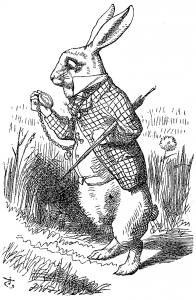 Original illustration (1865), by John Tenniel for Lewis Carroll's novel, Alice in Wonderland. Source: Wikimedia Commons.