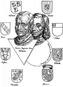 Father and Son van Helmont, frontispiece in Dageraed, Amsterdam 1659.