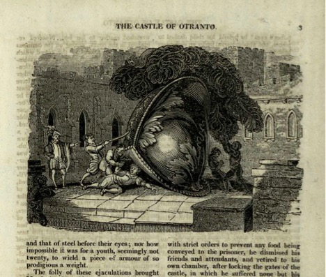 Death by giant helmet! Illustration from the 1824 edition of Walpole's The Castle of Otranto (Image credit: Creative Common license, University of St. Andrews Library Special Collections, Fle PR1297.E23).